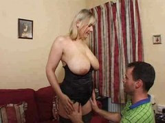 Mature blonde super large saggy breasts