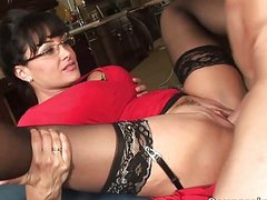 Classy big titted MILF hoe gets her fanny eaten out
