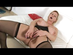 Busty Blonde Milf in Black Lingerie Fingers and Toys
