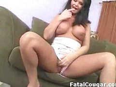 Amazing busty milf strips shows her phat ass and plays with