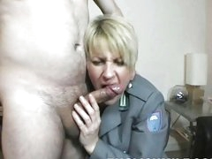 Chubby blonde UK MILF fucks with well hung stud