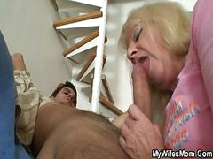 Dirty mother services her son`s restless dick with her toothless mouth