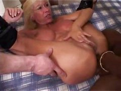 Busty blonde MILF in a French orgy getting nailed and a facial