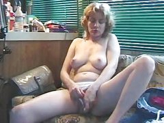 Mature blonde plays with herself before taking on the hard cock
