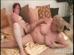 Excited BBW lesbos fucking a dildo