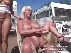Three ladies are out camping and get so horny they eat pussy outside