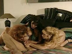 Lusty whore Anna Malle and friends swarming on a lucky mans cock in bed