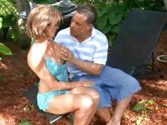 Horny Sharona Gold humping young guy