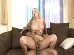 Blonde cougar Joclyn Stone gets picked up by black dude and takes him in her hairy snatch