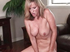 Nasty MILF bitch masturbates in red lingerie