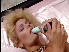 Blonde Debi goes solo and makes love to her dildo and masturbates