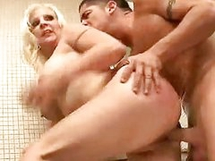 Sexy naked Veronica Vaughn gets her pussy stabbed by a monster cock behind