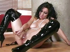 Horny Avalon stuffing massive glass dildo in her tight pussy