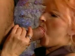 Redhead Granny gets her butt group-fucked