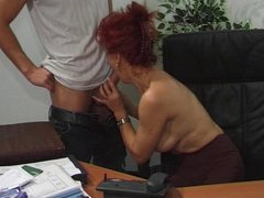 Hawt Euro Aged Redhead Bangs In Office