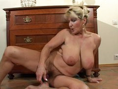 Unshaved Busty Aged Milf Disrobes and Toys
