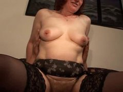 Hairy Older Redhead in Glasses and Nylons Copulates