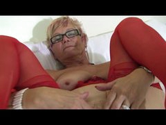 Granny in Glasses and Red Underware and Stockings Spreads