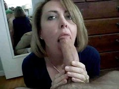 Mom deepthroating daddy and swollow his cum