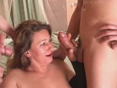 Italian Mature Pleasured By Two Young Guy