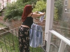 Hot Mature Wife Attacked While Hanging Laundry - Cireman