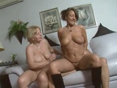2 Older German Gal Acquires Pounded on Couch