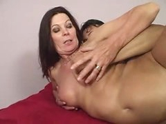 Lesbian Mom Magdelaine cries when drilled by a large Shlong