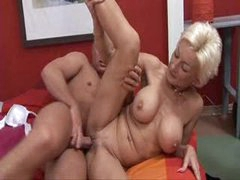 mature blondie drilled by youthful boy