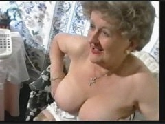 Plump Old Granny Teases in Stockings