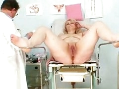 Big boobs mom gets her both holes properly checked by a perverted gynecologist