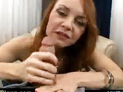 Horny red haired mature spoiling a cock