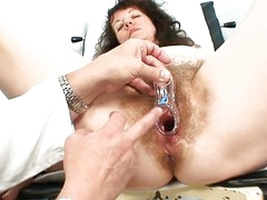 Old older bitch gets her hirsute examined at the hospital