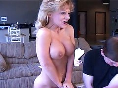 Mega boobs milf screwed with sex toy