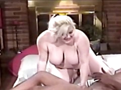 Fat milf blonde blowing big black cock before hardcore fucking