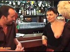 Threesome with mature babes in a bar