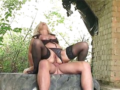 Blonde granny team-fucked hard outdoors by huge youthful cock in ass
