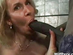 Hot boobs blonde milf tempted by big young black cock