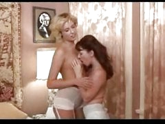 2 Breasty Girls In Old Fashioned Lingeries Kissing Rubbing Licking Nipples On The Bed