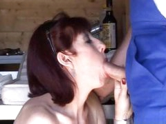 Hawt French aged redhead eats and then gets her butt pounded