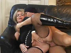 Blond Milf in Fishnet Nylons Fucks