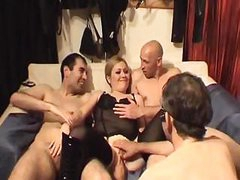 Frivolous honey in sexy underwear wants to be fucked by two males