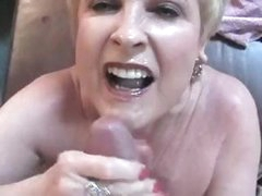 Chubby blonde Mrs. Jewell in her own facial compilation of movie scenes