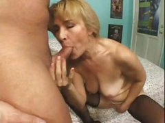 Blonde granny gets cock in the face hole and then gets gazoo fucked