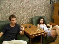 Hot brunette mom gets eaten and hammered by her stepson in the livingroom