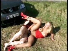 German couple pull off the road because they're too horny to wait