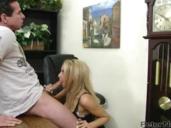 Peter North Engulf The Boobs Of Blonde Babe In The Office