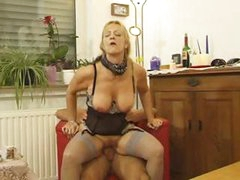 Busty mature blonde bitch gets her pussy licked and fucked hard
