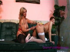 lesbian grannies toying with wet dildo