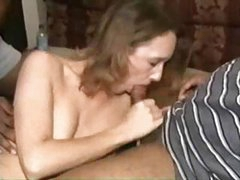 Amateur brunette wife gets three black cock and a nasty creampie