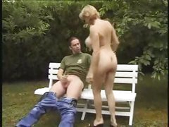 MILF babe with big boobs gets her blonde cunt fucked by the gardener